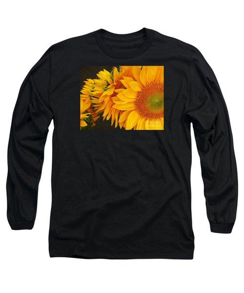 Sunflowers Train Long Sleeve T-Shirt by Jasna Gopic