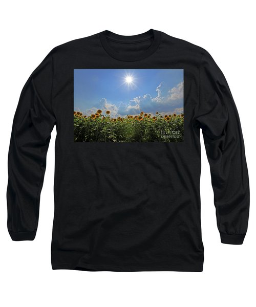 Sunflowers With Sun And Clouds 1 Long Sleeve T-Shirt