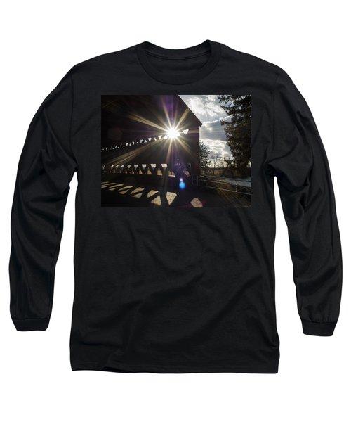 Sunlight Through Sachs Covered Bridge  Long Sleeve T-Shirt