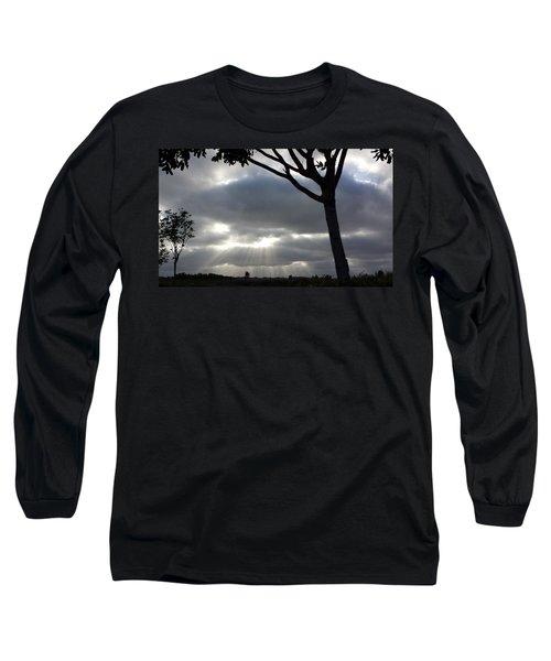 Sunlit Gray Clouds At Otay Ranch Long Sleeve T-Shirt by Karen J Shine