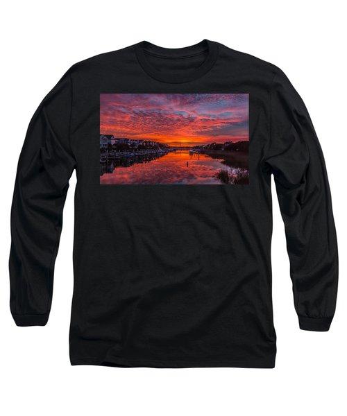 Sunlit Sky Over Morgan Creek -  Wild Dunes On The Isle Of Palms Long Sleeve T-Shirt