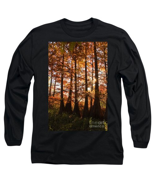 Long Sleeve T-Shirt featuring the photograph Sunlit Trees At Lake Murray by Tamyra Ayles