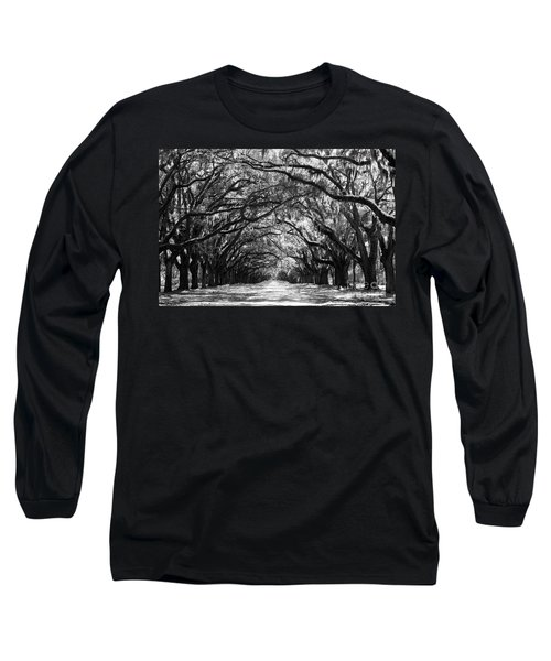 Sunny Southern Day - Black And White Long Sleeve T-Shirt