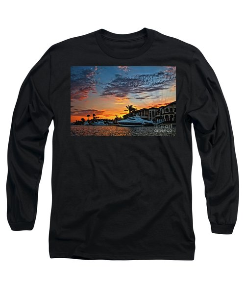 Sunrays Sunset Over Huntington Harbour Long Sleeve T-Shirt by Peter Dang