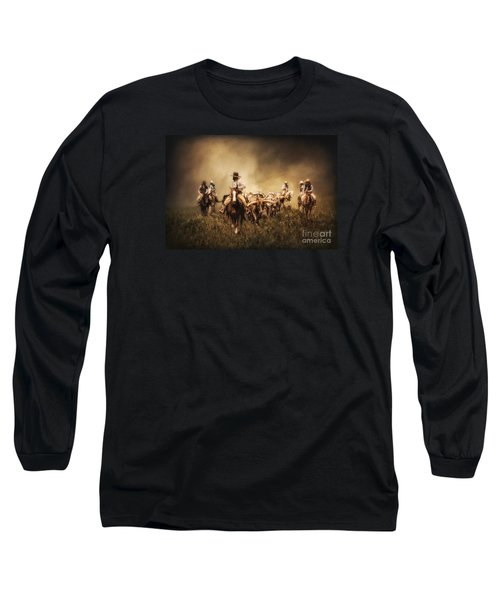 Sunrise Cattle Drive Long Sleeve T-Shirt by Priscilla Burgers