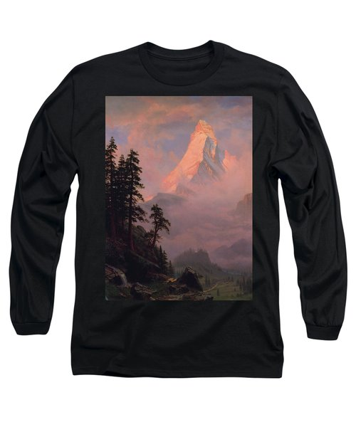 Long Sleeve T-Shirt featuring the painting Sunrise On The Matterhorn         by Albert Bierstadt