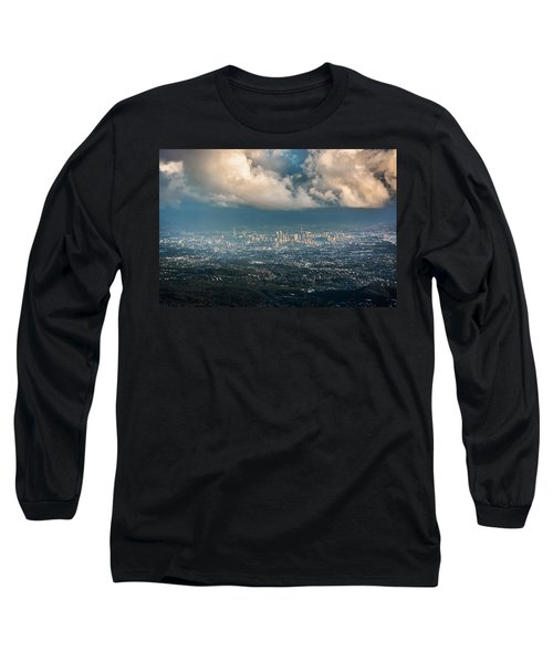 Long Sleeve T-Shirt featuring the photograph Sunrise Over A Cloudy Brisbane by Parker Cunningham