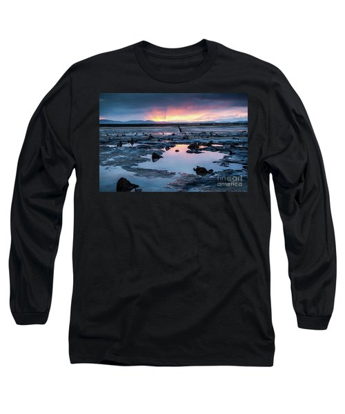 Sunrise Over The Bronze Age Sunken Forest At Borth On The West Wales Coast Uk Long Sleeve T-Shirt