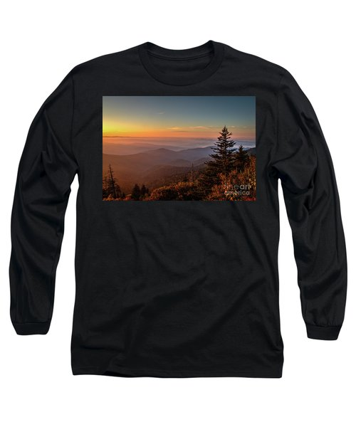 Long Sleeve T-Shirt featuring the photograph Sunrise Over The Smoky's V by Douglas Stucky
