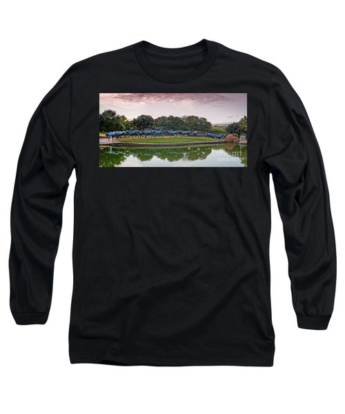 Sunrise Panorama Of Cattle Drive Sculpture At Pioneer Plaza - Downtown Dallas North Texas Long Sleeve T-Shirt
