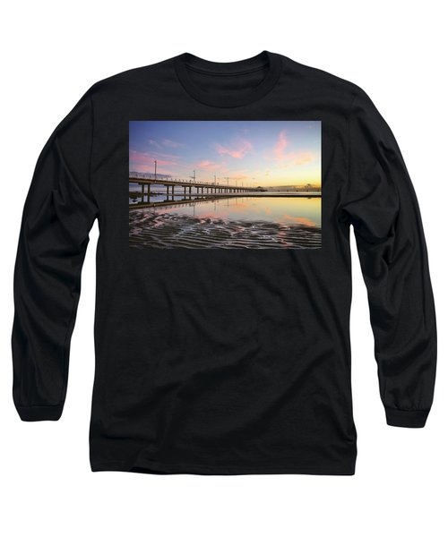 Sunrise Reflections At The Shorncliffe Pier Long Sleeve T-Shirt