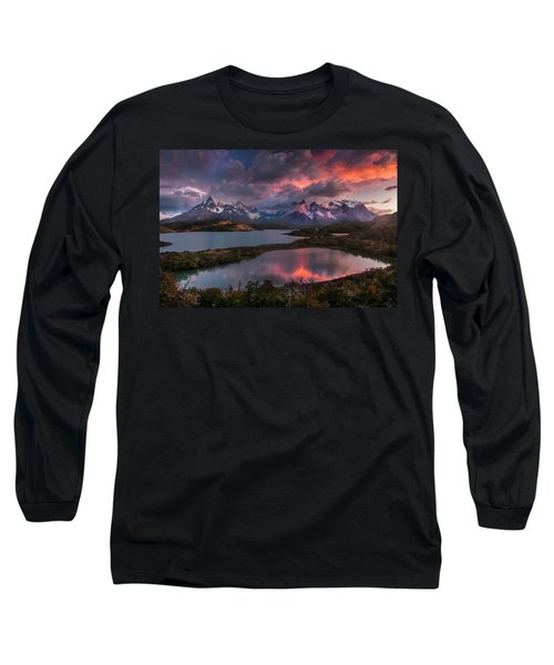 Sunrise Spectacular At Torres Del Paine. Long Sleeve T-Shirt