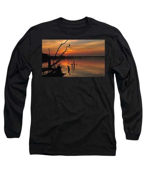 Long Sleeve T-Shirt featuring the photograph Sunset And Heron by Angel Cher