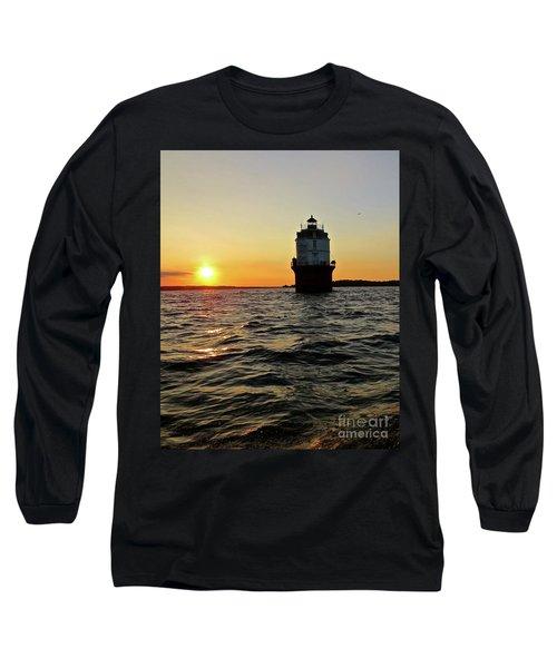 Sunset At Baltimore Light  Long Sleeve T-Shirt