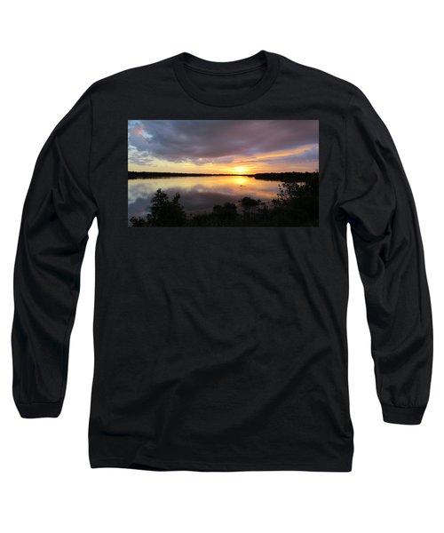 Sunset At Ding Darling Long Sleeve T-Shirt by Melinda Saminski