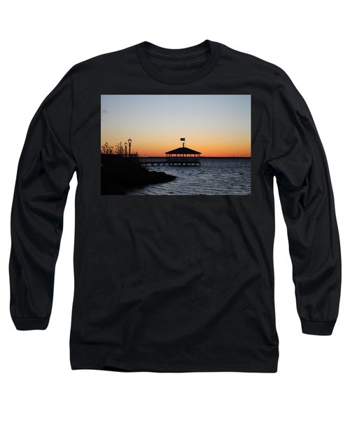 Sunset At Fagers Island Gazebo Long Sleeve T-Shirt