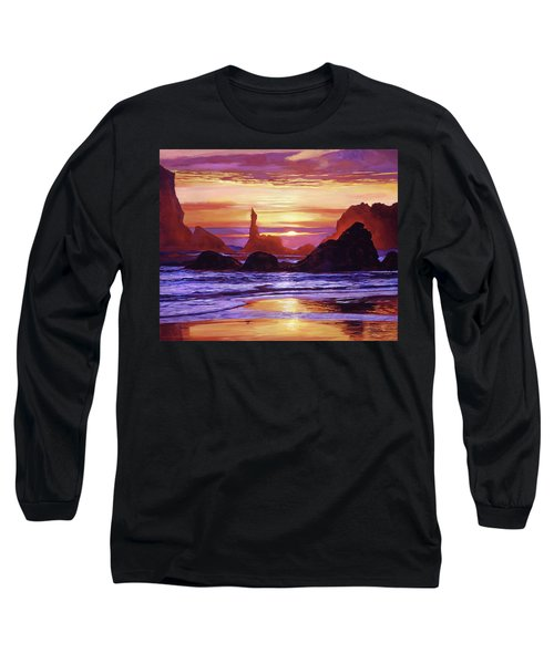Sunset At Oregon Rocks Long Sleeve T-Shirt