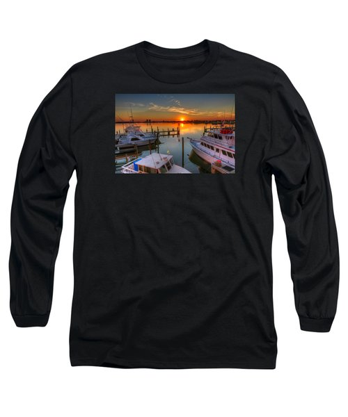 Sunset At The Marina Long Sleeve T-Shirt by Tim Stanley