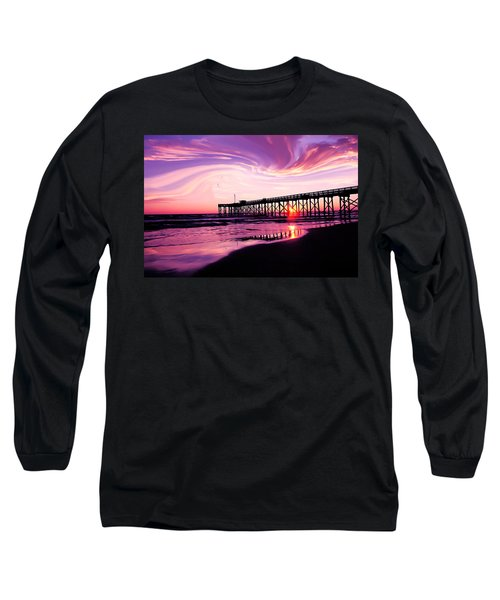 Sunset At The Pier Long Sleeve T-Shirt by Eddie Eastwood