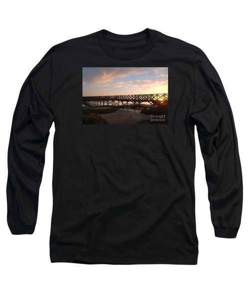 Sunset At The Wooden Bridge Long Sleeve T-Shirt by Angelo DeVal