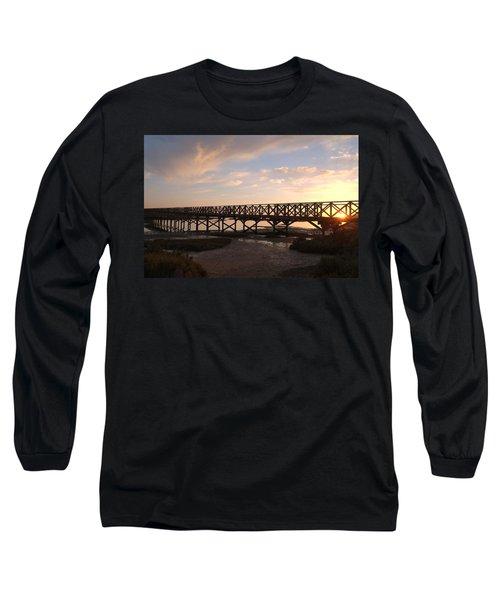 Sunset At The Wooden Bridge Long Sleeve T-Shirt