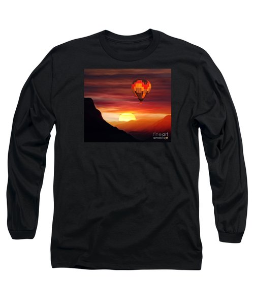 Sunset Balloon Ride Long Sleeve T-Shirt by Zedi