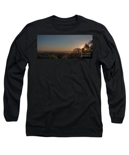 Sunset Behind Tree With Forest And Mountains In The Background Long Sleeve T-Shirt