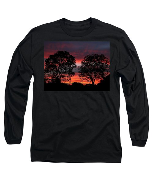 Sunset Behind Two Trees Long Sleeve T-Shirt
