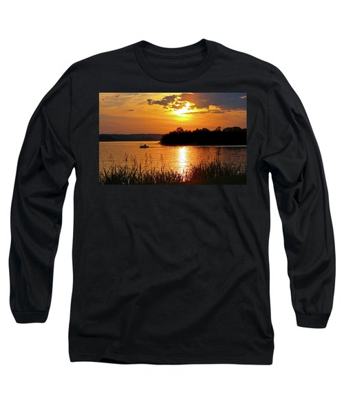 Sunset Boater, Smith Mountain Lake Long Sleeve T-Shirt