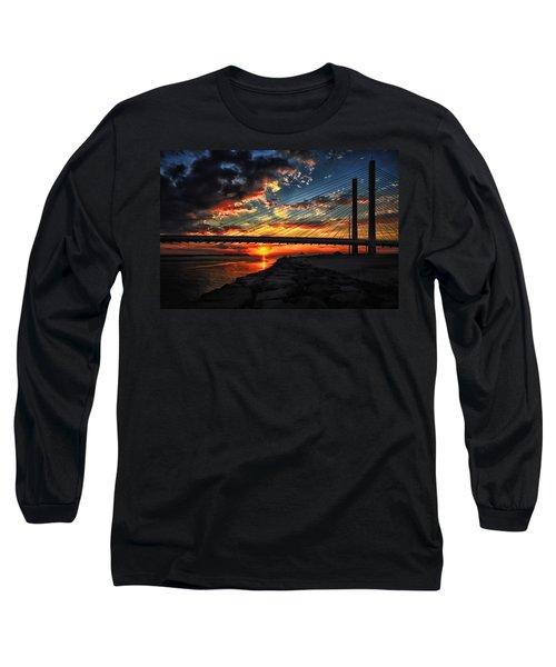 Sunset Bridge At Indian River Inlet Long Sleeve T-Shirt