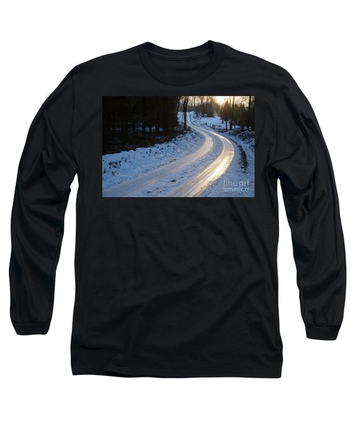 Sunset By An Icy Country Road Long Sleeve T-Shirt