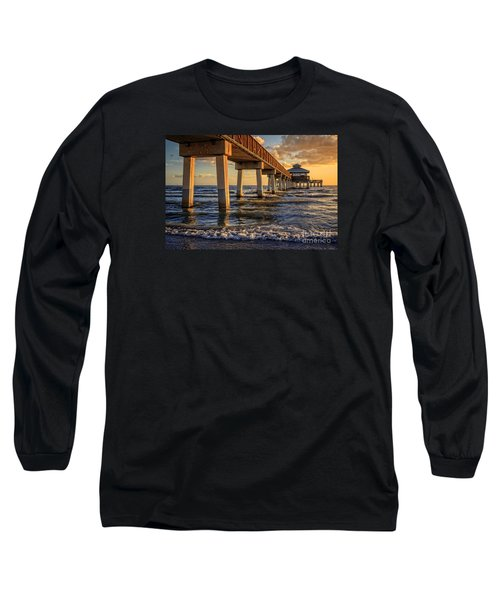 Long Sleeve T-Shirt featuring the photograph Sunset Fort Myers Beach Fishing Pier by Edward Fielding