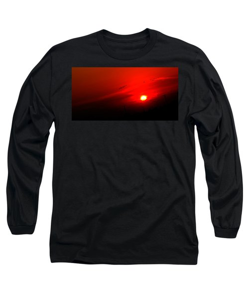 Sunset Geese Leaving Disappearing City - 0814  Long Sleeve T-Shirt by Michael Bessler