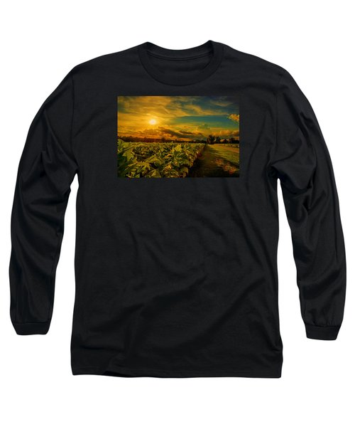 Sunset In A North Carolina Tobacco Field  Long Sleeve T-Shirt by John Harding