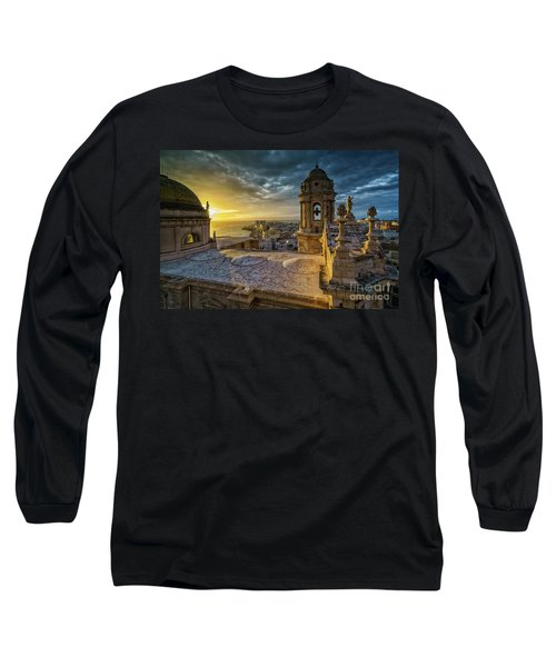 Long Sleeve T-Shirt featuring the photograph Sunset In Cadiz Cathedral View From Levante Tower Cadiz Spain by Pablo Avanzini