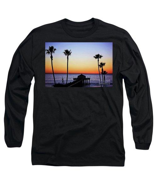Sunset On Manhattan Beach Pier Long Sleeve T-Shirt