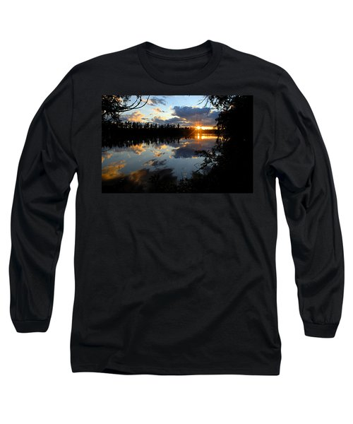 Sunset On Polly Lake Long Sleeve T-Shirt by Larry Ricker