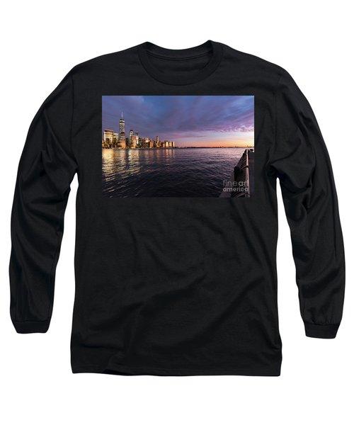 Sunset On The Hudson River Long Sleeve T-Shirt