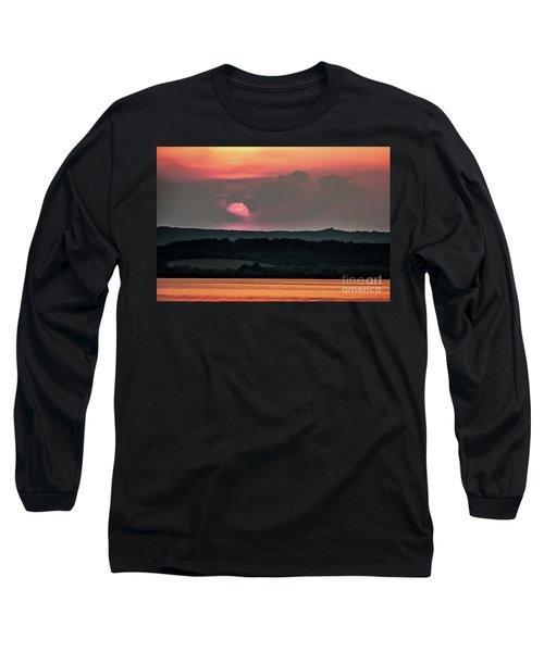 Sunset On The Lake Velence Paint Long Sleeve T-Shirt