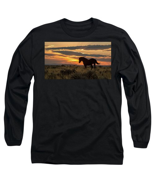 Sunset On The Mustang Long Sleeve T-Shirt by Jack Bell