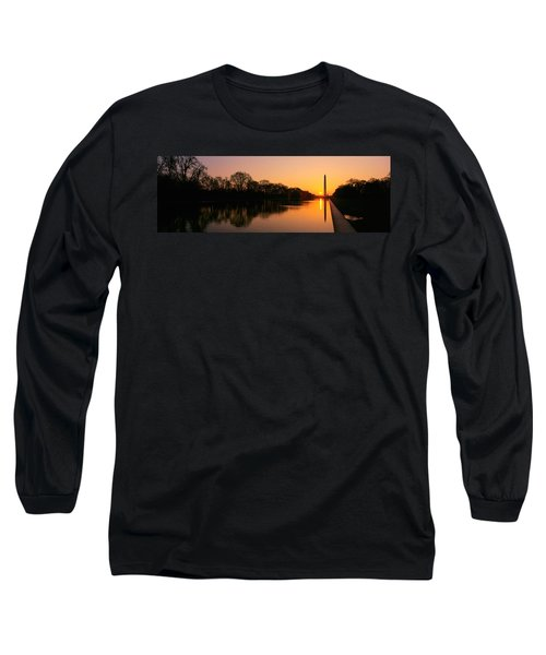 Sunset On The Washington Monument & Long Sleeve T-Shirt by Panoramic Images