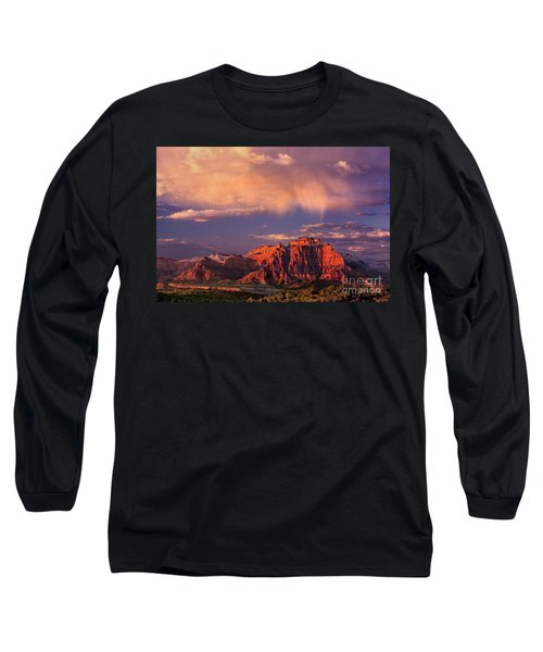 Sunset On West Temple Zion National Park Long Sleeve T-Shirt by Dave Welling