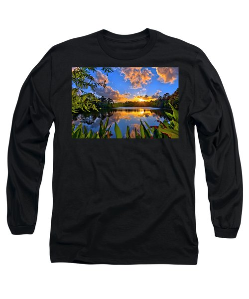Sunset Over Hidden Lake In Jupiter Florida Long Sleeve T-Shirt