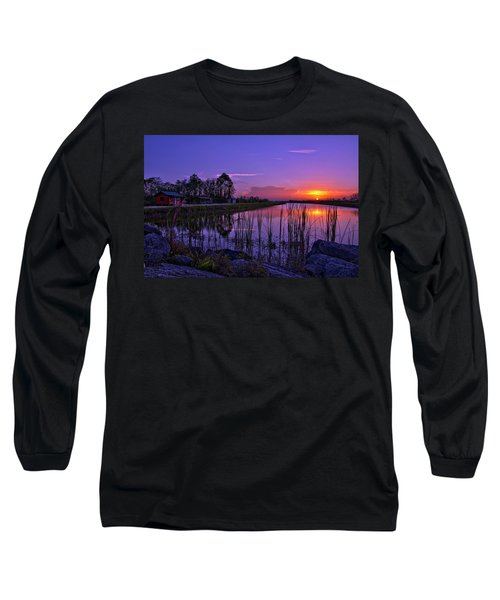 Sunset Over Hungryland Wildlife Management Area Long Sleeve T-Shirt