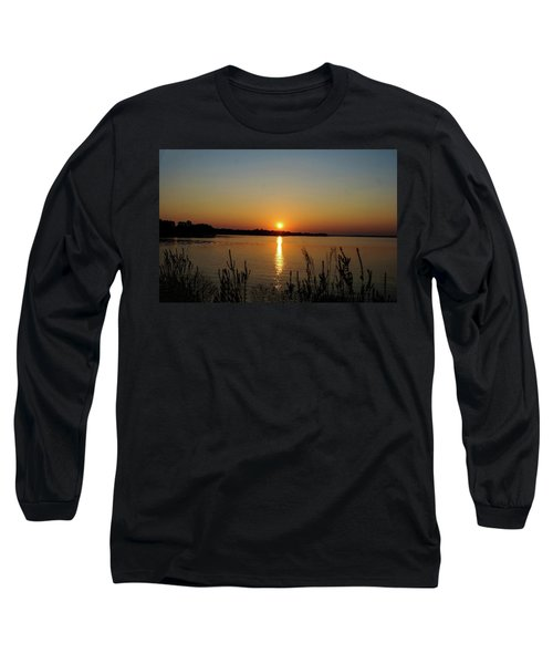 Sunset Over Lake Norman Long Sleeve T-Shirt by B Wayne Mullins
