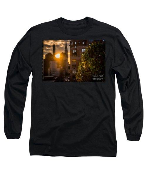 Sunset Over Manhattan New York City Long Sleeve T-Shirt