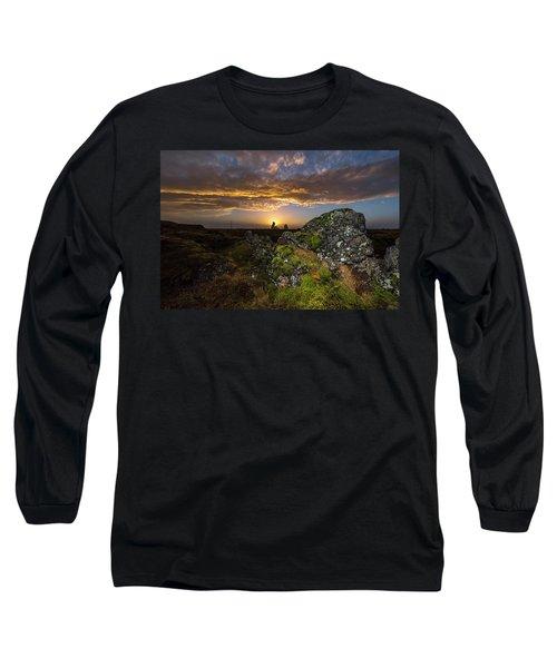 Sunset Over Marsh Long Sleeve T-Shirt by Joe Belanger