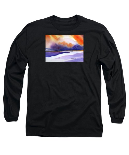 Long Sleeve T-Shirt featuring the painting Sunset Over Marsh by Yolanda Koh