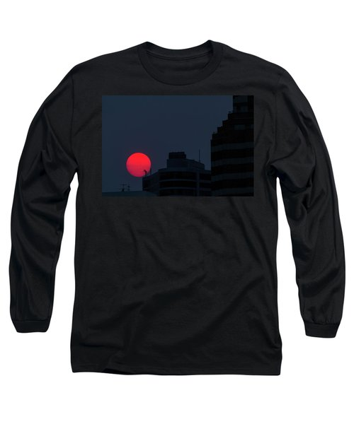 Sunset Over The City Of Portland Oregon Long Sleeve T-Shirt