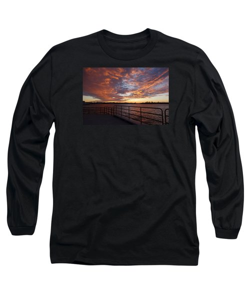 Sunset Over The Manasquan Inlet 2 Long Sleeve T-Shirt by Melinda Saminski